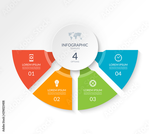 Cuadros en Lienzo  Infographic semicircle template with 4 options