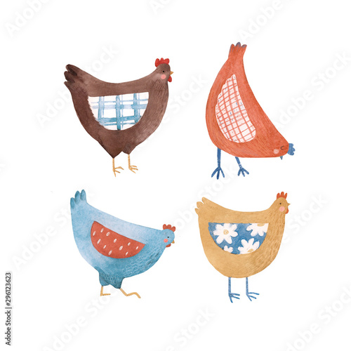 Carta da parati Cute watercolor rustic chicken hen bird illustration set for children print