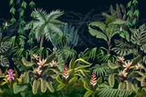 Bezszwowa granica z drzew i kwiatów dżungli. Wektor. - 296129662