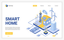 Smart Home Landing Page Vector Template. Modern Eco Friendly Technology Website Homepage Interface Layout With Isometric Illustration. Renewable Energy Sources Web Banner, Webpage 3D Concept