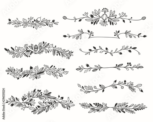 Decorative Hand-drawn Floral Dividers Vector Set Wall mural