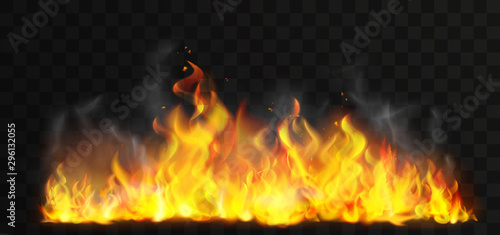 Photo Raging fire realistic vector illustration
