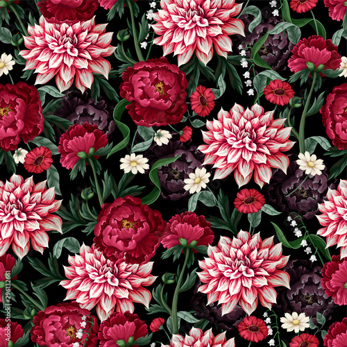 Tableau sur Toile Seamless pattern with dahlia, peonies and wild flowers. Vector.