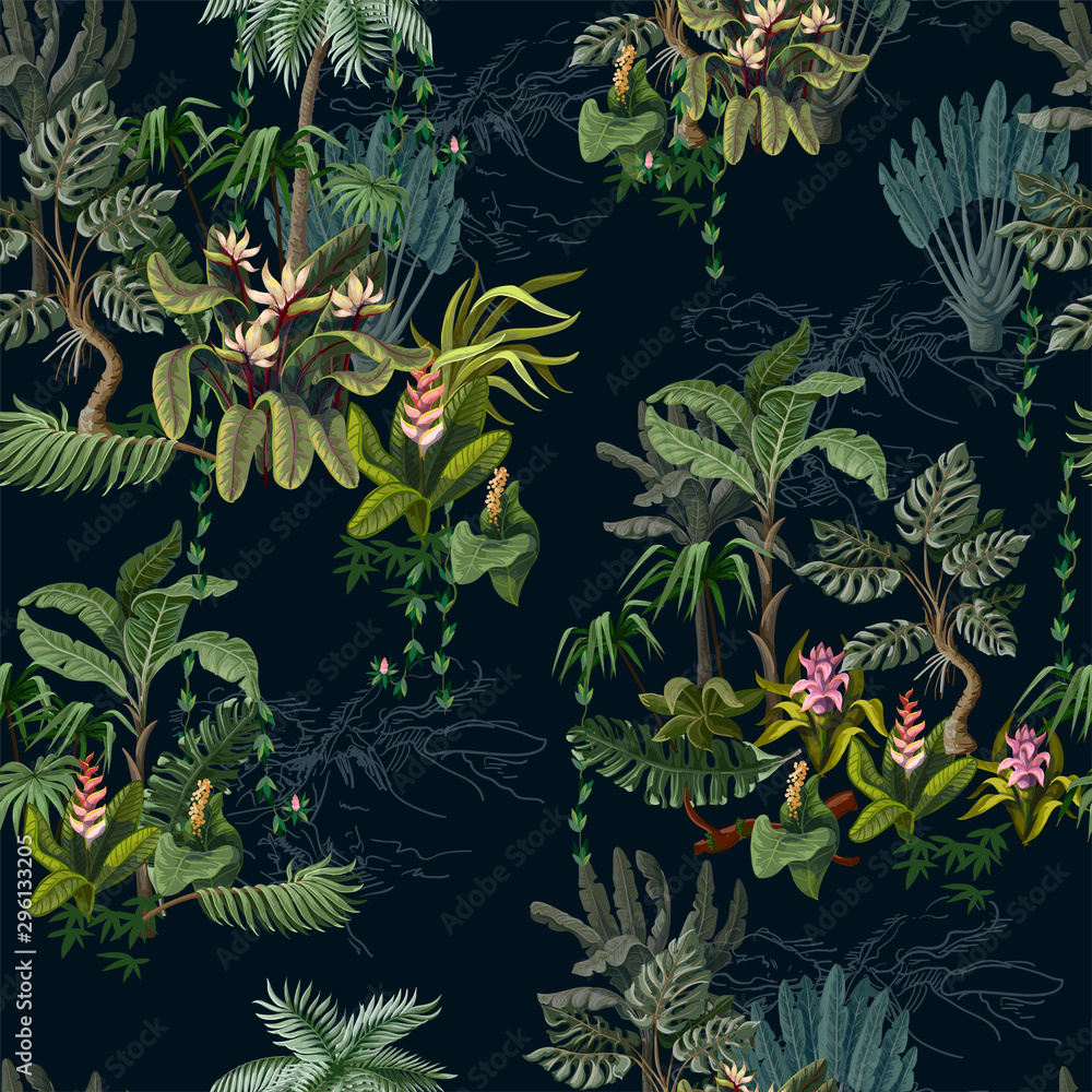 Fototapeta Seamless pattern with jungle trees and flowers. Vector.