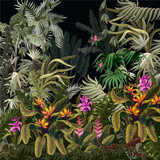 Seamless border with jungle trees and flowers. Vector. - 296133682
