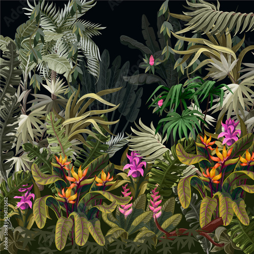plakat Seamless border with jungle trees and flowers. Vector.