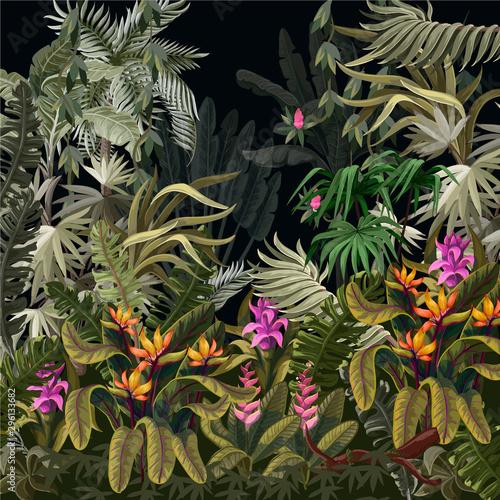 fototapeta na ścianę Seamless border with jungle trees and flowers. Vector.