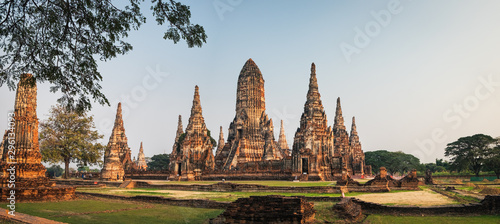 Tourists visit Wat Chai Watthana Ram Temple located in the historic district of Ayutthaya, Thailand Wallpaper Mural