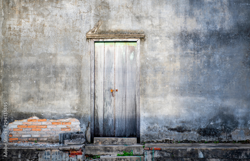 Fototapety, obrazy: Door and dark Concrete wall old retro look, concrete suitable for the assembly or the use of an Idea copy space
