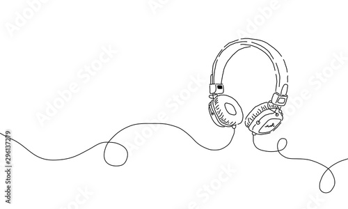 Fotografía  Stylized simple one line drawing of headphone speaker device gadget continuous lineart design isolated on white background