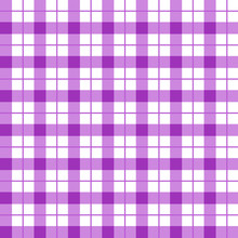 Purple Checkered Seamless Pattern. Violet And White Plaid Texture. Purple Gingham Seamless Background. Chequered Backdrop For Textile, Tablecloth, Shirt And Other Fashion Products. Vector Illustration