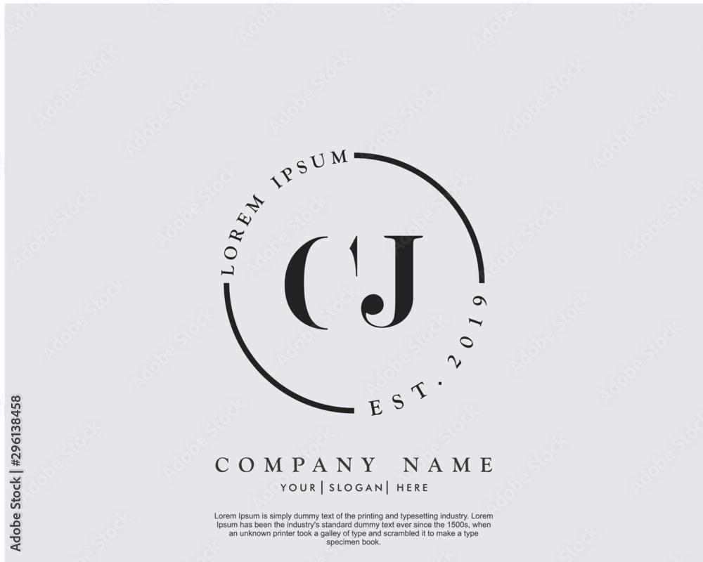 Fototapety, obrazy: Initial letter CJ beauty handwriting logo vector