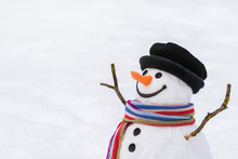 Close Up Of A Snowman In Snowy...