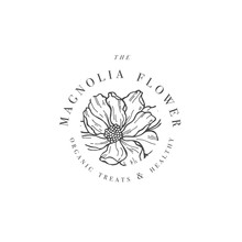 Hand Draw Vector Magnolia Flowers Logo Illustration. Floral Wreath. Botanical Floral Emblem With Typography On White Background.