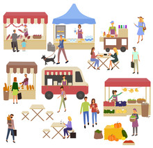 Tent With Milk Products, Vegetables And Flowers, Coffee And Fastfood Bus. Women Eating Outdoor, People Buying Food In Park Or On Street, Ice-cream And Fruit, Retail Vector, Food Court. Festival Market