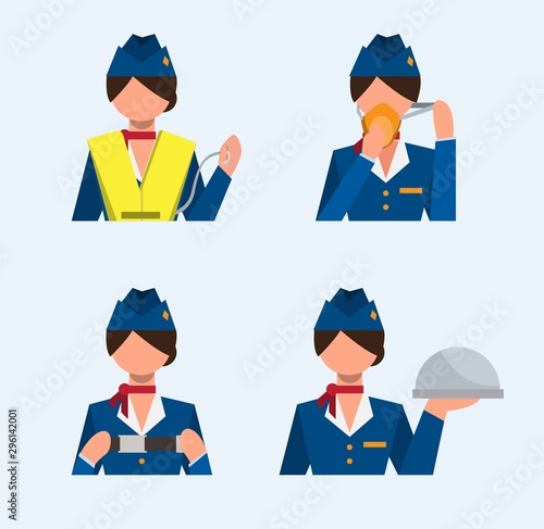 Photo flight attendant icon set, safety instructions, flat illustration vector
