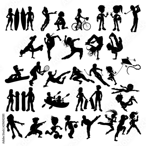 Silhouettes of athletes and sportspeople