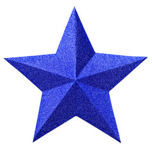 Christmas Blue Star Isolated On White Background. Christmas Ornament Closeup Blue Star