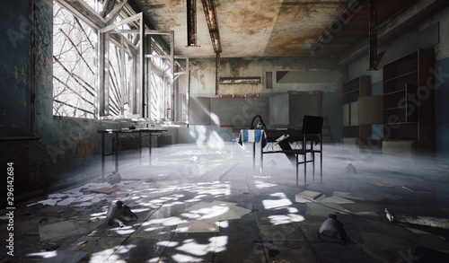 Autocollant pour porte Les vieux bâtiments abandonnés Chernobyl abandoned school classroom dark room chair