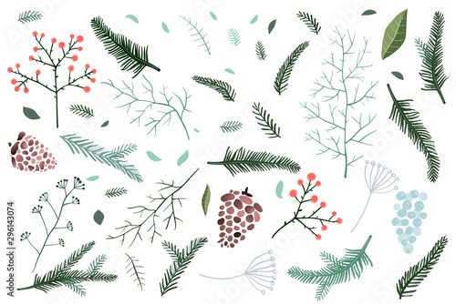 Pinturas sobre lienzo  Christmas Fir tree and pine branches objects collection with cones and winter florals