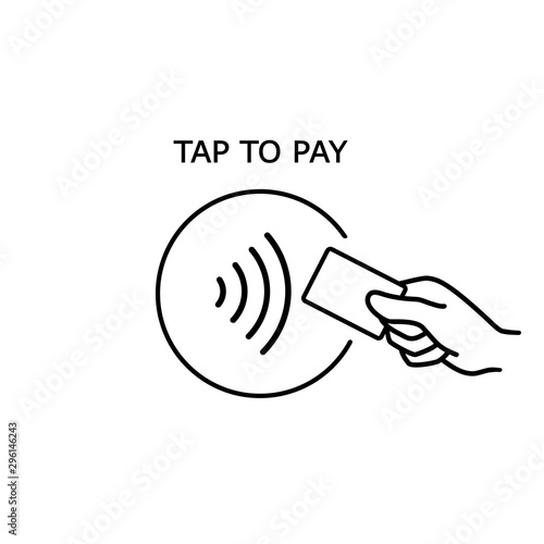 Vászonkép Contactless payment, credit card and hand tap pay wave logo