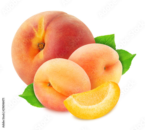 Colourful composition with fruit mix - peach and apricot isolated on a white background with clipping path. - 296146471