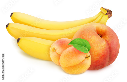 Colourful composition with fruit mix - peach, banana bunch and apricots isolated on a white background with clipping path. - 296147026