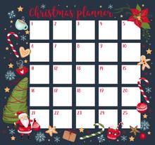 Christmas Planner, Organizer Template. Vector Illustration EPS 10.