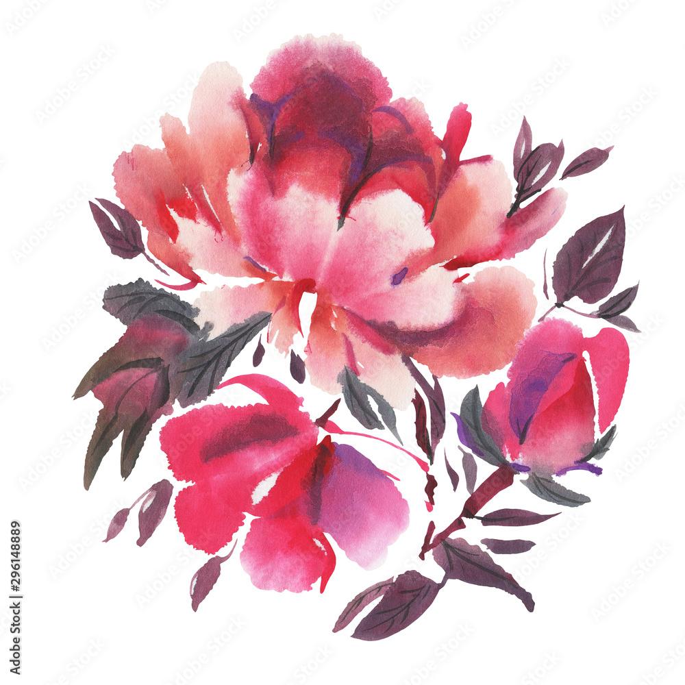 Fototapety, obrazy: Watercolor flowers. Peonies.