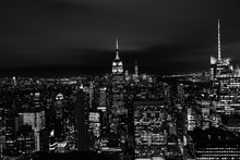 New York, New York, USA Night Skyline, View From The Empire State Building In Manhattan, Night Skyline Of New York Black And White Photography
