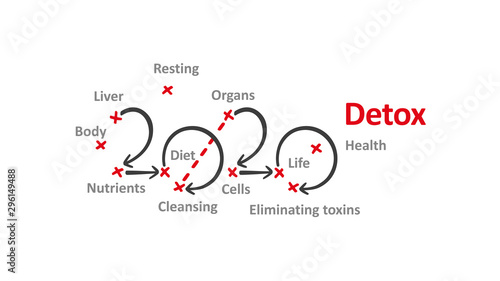 Detox New Year 2020 word cloud with arrows and red marks white background vector