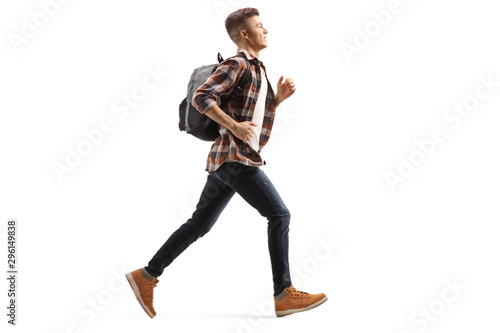 Male teen student running