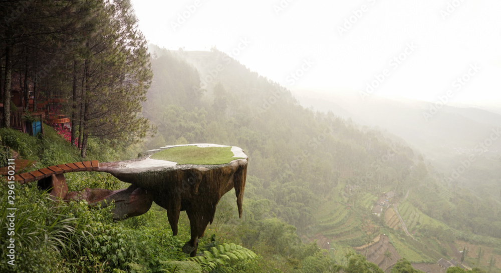 Fototapety, obrazy: Overhanging rock cliff viewing post at pine cave indonesia beautiful landscape