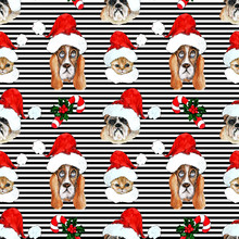 Watercolor Hand Drawn Artistic Colorful Christmas Traditional Vintage Seamless Pattern With Pets In Santa Hats