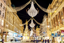 Famous Graben Shopping Street By Night In Vienna, Austria.