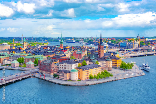Photo Stockholm Old Town (Gamla Stan) aerial panorama from City Hall, Sweden