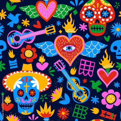 Fototapety, obrazy: Day of the dead mexican cartoon background pattern