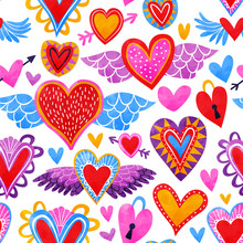 Watercolor Heart Seamless Pattern For Love Concept