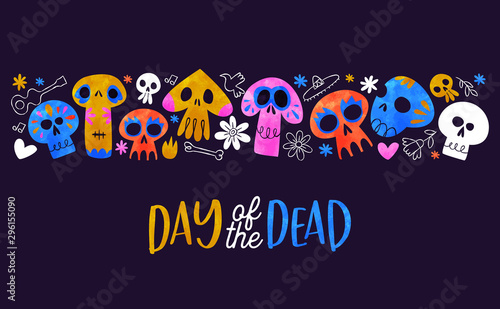 Spoed Foto op Canvas Aquarel Schedel Day of dead card cute watercolor skull cartoon