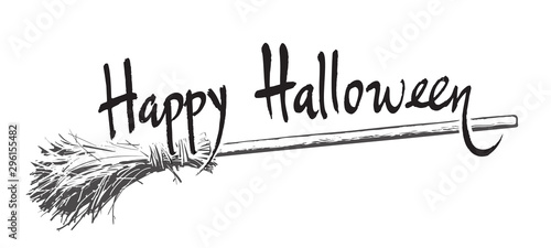 Pinturas sobre lienzo  Happy halloween hand drawn lettering and old magic broomstick