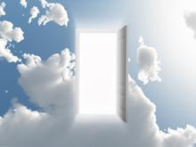 Open Doorway In Cloudy Sky