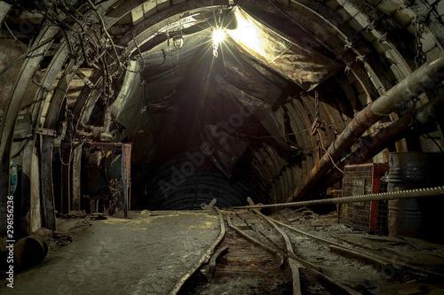 Foto abandoned coal enterprise, underground mining