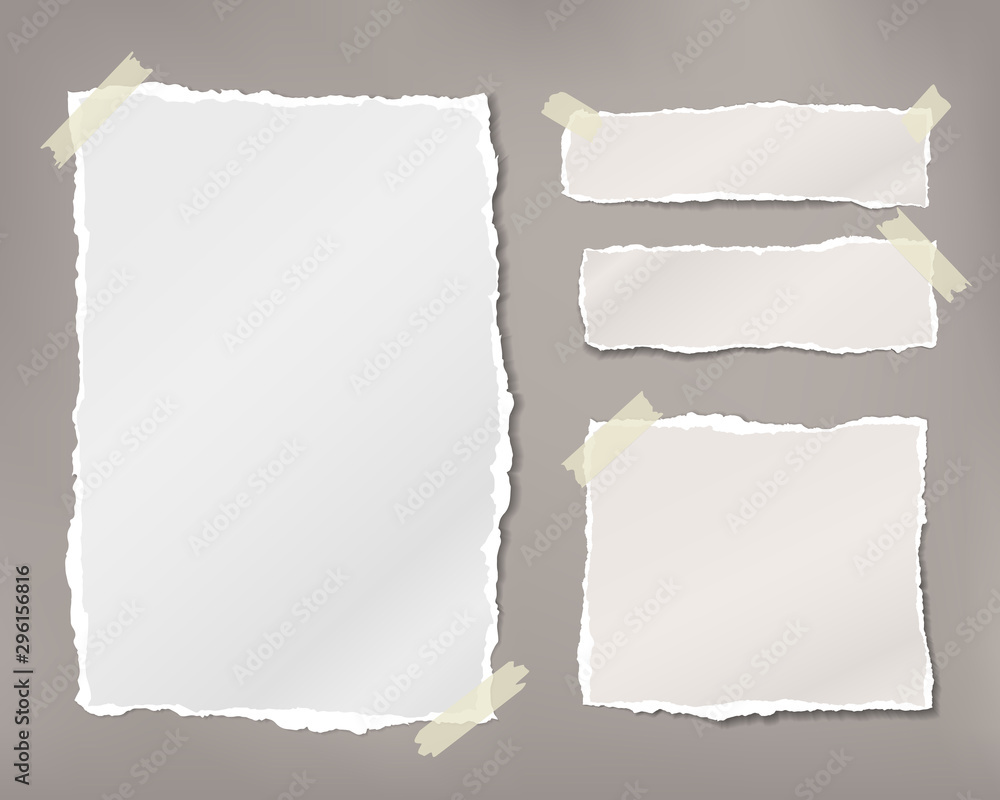 Fototapety, obrazy: Torn white note, notebook paper pieces stuck with sticky tape on brown background. Vector illustration