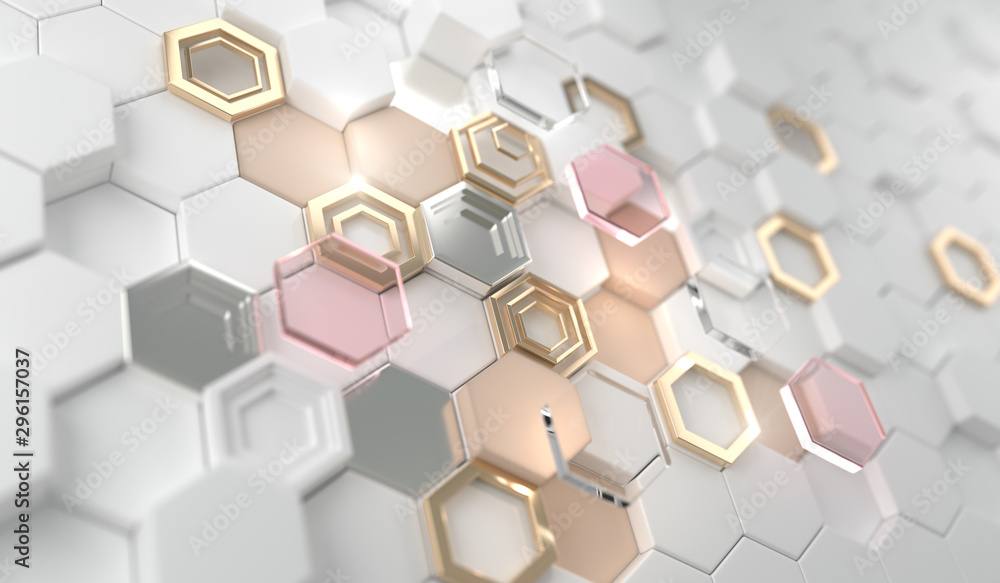 Fototapety, obrazy: Gold shiny glowing hexagon on the white hexagon.Golden luxury line border for invitation, card, sale, fashion, photo etc. wedding,Beauty products.3d Rendering.
