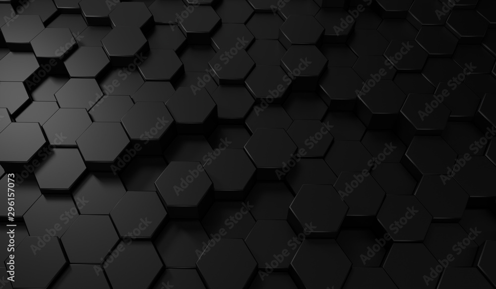 Fototapety, obrazy:  Hexagon dark background. Black honeycomb abstract metal grid pattern technology wallpaper.3d Rendering.