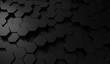 Hexagon dark background. Black honeycomb abstract metal grid pattern technology wallpaper.3d Rendering.