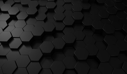 Hexagon dark background. Bl...
