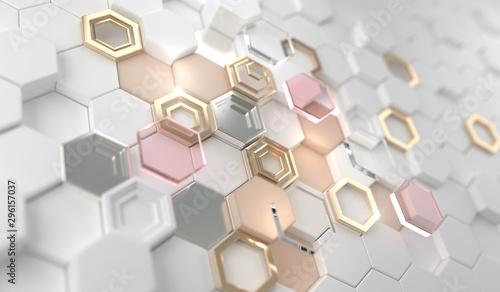 Fotografia  Gold shiny glowing hexagon on the white hexagon