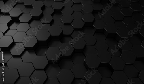 Poster Metal Hexagon dark background. Black honeycomb abstract metal grid pattern technology wallpaper.3d Rendering.