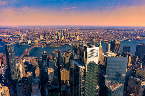 Door stickers New York Aerial view of Brooklyn and Manhattan New York City before sunset